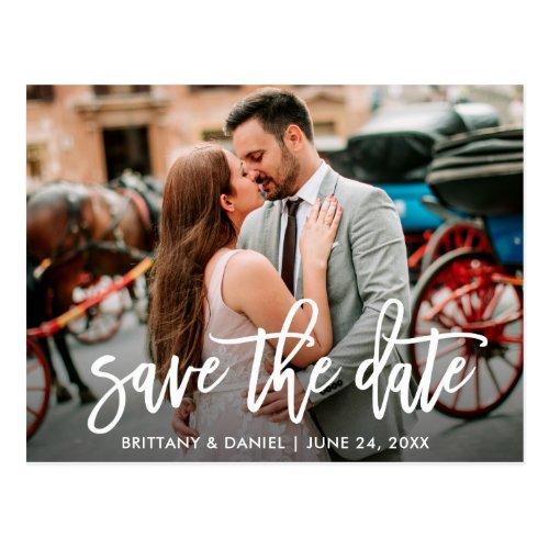 Save The Date Modern Brush Script Couple Photo Postcard