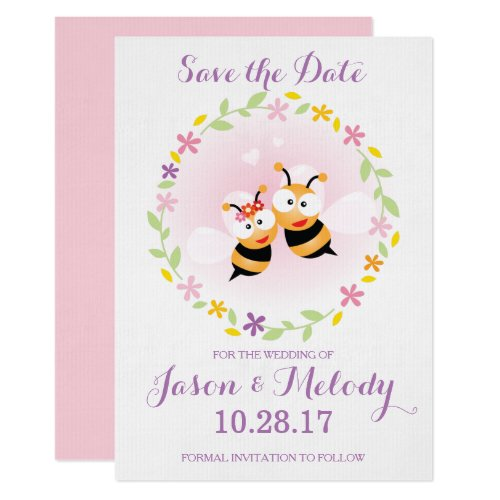 Save The Date Whimsical Pink Wedding Announcement