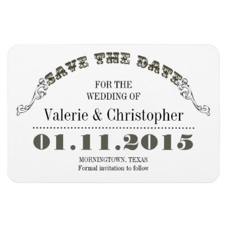 save the date white vintage magnets