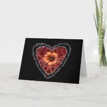 Scarlet Flower Heart Valentine Love Romance Card