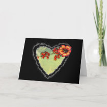 Scarlet Flowers Heart Valentine Love Romance Card