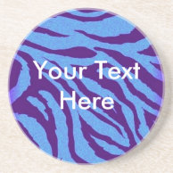 Scene Style Blue/Indigo Zebra Print Coaster on Zazzle