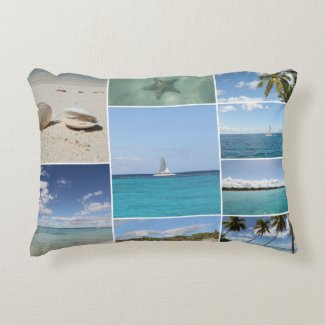Scenic Caribbean Photo Collage Accent Pillow