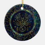 Scorpio Zodiac Gold Abalone on Constellation Ceramic Ornament