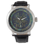 Scorpio Zodiac Gold Abalone on Constellation Wrist Watch