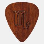 Scorpio Zodiac Symbol in Mahogany Style Guitar Pick