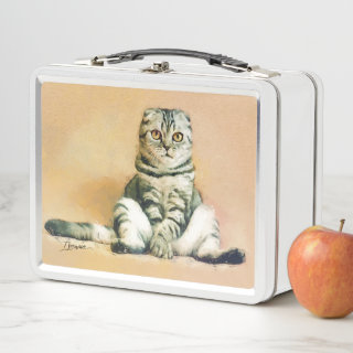 Scottish Fold Cat Sitting Portrait Metal Lunch Box