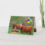 ❤️ Fun Scottish Highland Steer Party Birthday Card