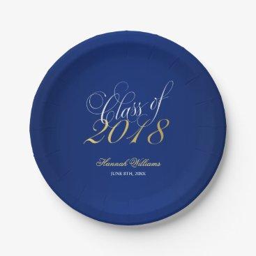 Script Navy Blue Faux Gold 2018 Graduation Party Paper Plate