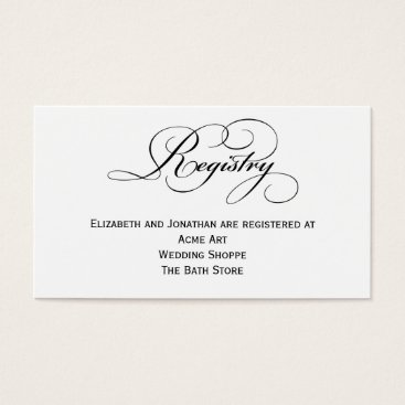 Script Wedding Registry Information Card