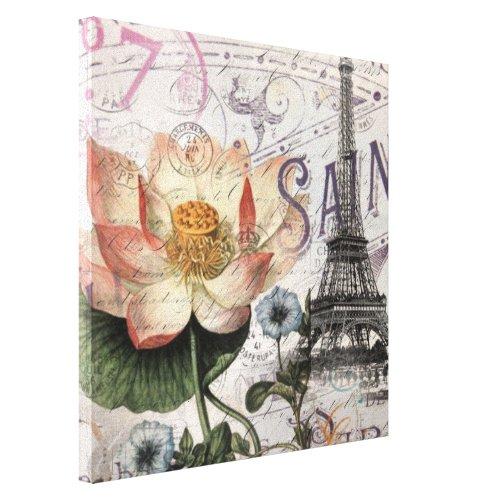 scripts french botanical lotus paris eiffel tower canvas print