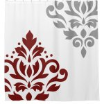 Scroll Damask Art I Red Grey On White Shower Curtain Zazzle Com