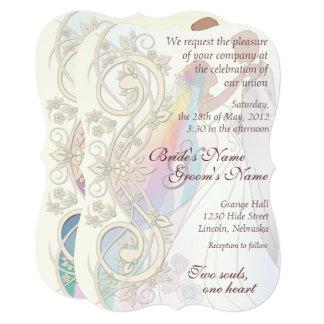 Scroll Rainbow Bride Groom Wedding Invite 1c Card