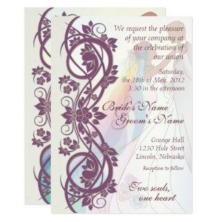 Scroll Rainbow Bride Groom Wedding Invite 2b Card