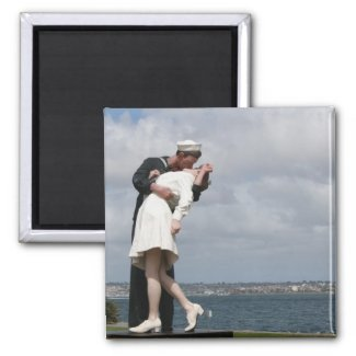 Sculpture Unconditional Surrender in San Diego 2 Inch Square Magnet