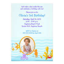 SEA CRITTERS Under the Sea *PHOTO* Birthday 5x7 Invites