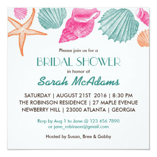 Sea Ss Beach Theme Bridal Shower Invitation
