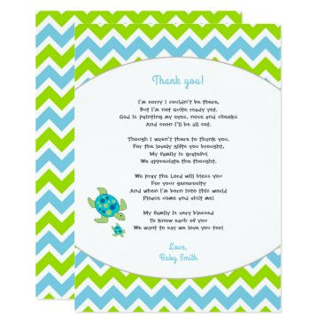 Sea Turtle baby shower thank you note   poem Card