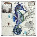 seahorse map vintage square wall clock