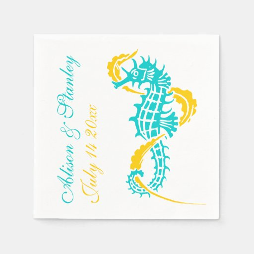 Seahorse turquoise, yellow beach wedding
