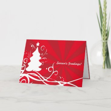Seaons's Greetings! Artful White / Red Xmas Design Holiday Card