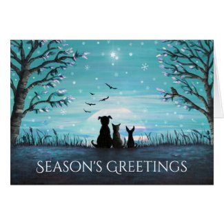 Season's Greetings Winter Sunset Card