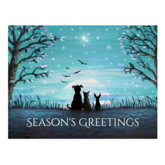 Season's Greetings Winter Sunset Postcard