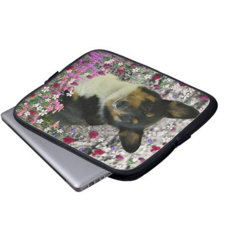Sebastian the Welsh Corgi in Flowers Laptop Sleeve