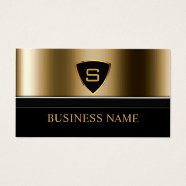 Security Bodyguard Gold Shield Monogram Modern Business Card