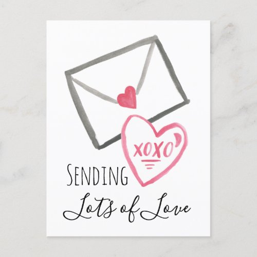 Sending Valentine's Love Letter Xoxo Heart Holiday Postcard