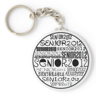 Senior 2012 Round Keychain (Black) keychain