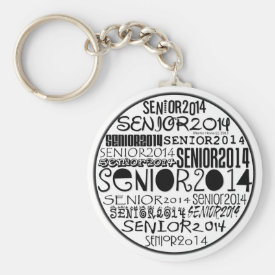 Senior 2014 Round Keychain (Black)