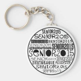 Senior 2015 Round Keychain (Black)