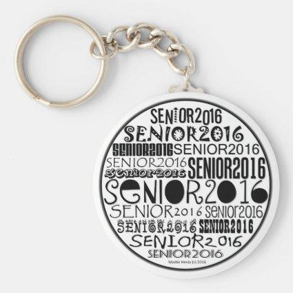 Senior 2016 Round Keychain (Black)