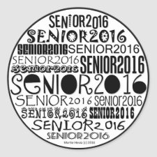 Senior 2016 Round Stickers