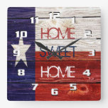 Sentimental and Patriotic Home sweet Home Texas Square Wallclocks