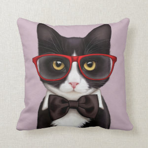 Serious Cat Throw Pillow