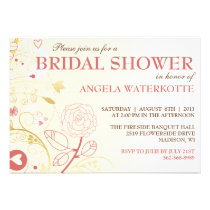 Shabby Chic Gold & Pink Bridal Shower Invitation