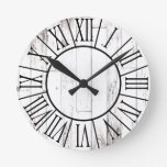 Shabby Chic Rustic White Wood Country Farmhouse Round Clock