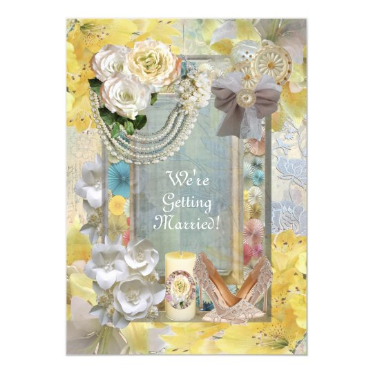 Shabby Chic Wedding Invitation Lemon Botanical