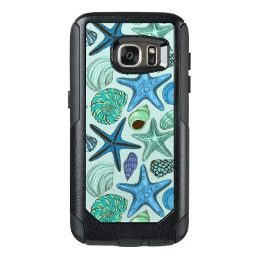 Shades Of Blue Seashells And Starfish Pattern OtterBox Samsung Galaxy S7 Case