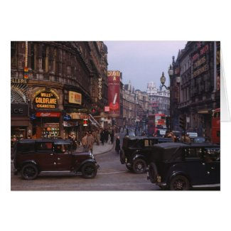 Shaftesbury Avenue 1949 Greeting Cards