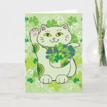 Shamrock Bouquet Maneki Neko (Lucky Cat) Card