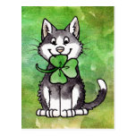 Shamrock Kitty Postcard