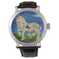 Shamrock the Irish Unicorn Fantasy Art Wrist Watch