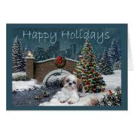 Shih Tzu Christmas Card Evening