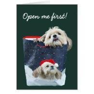 Shih Tzu Christmas gift Greeting Cards