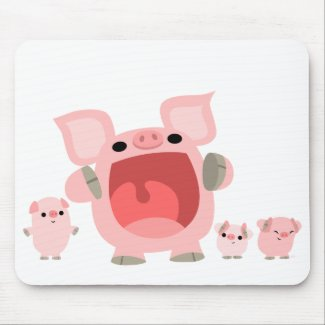Shouting Cartoon Pigs Mousepad :) mousepad
