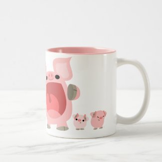 Shouting Cartoon Pigs Mug:) mug