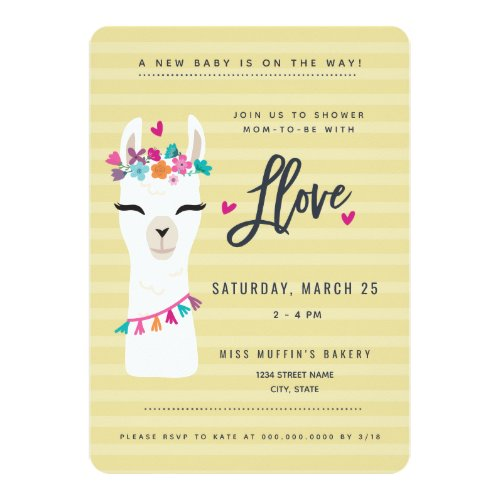 Showered in Llove // LLama baby shower Invitation